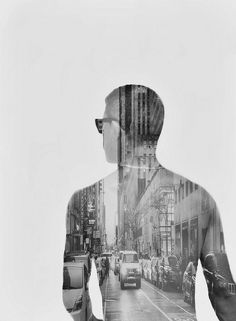 A masculine double exposure concept. Title: Double Exposure Attempt by llrrcc on Flickr.