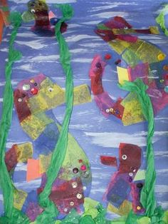 Toddler art creation, inspired by Mister Seahorse by Eric Carle. Done by Georgetown Art Expressions.