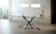 Rectangular crystal and stainless steel dining table SHANGAI | Crystal and stainless steel table by RIFLESSI