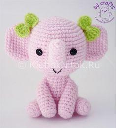 Розовый слоненок с бантиками | Вязание для детей | Вязание спицами и крючком. Схемы вязания.