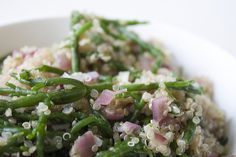 Garlicky, tangy quinoa and samphire. I made this and it was nice but found the samphire to be a bit 'scratchy' even though I blanched it for a good 4 minutes. Sea Asparagus, Eat Right, Vegetable Recipes, Quinoa, Green Beans, Side Dishes, Vegetarian, Tasty, Vegan