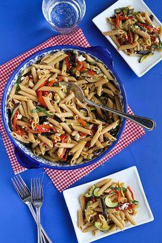 Roasted Vegetable Pasta Salad Recipe with Eggplant, Zucchini & Feta Cheese