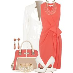 A fashion look from March 2013 featuring ruching dress, white coat and white pumps. Browse and shop related looks. Komplette Outfits, Classy Outfits, Beautiful Outfits, Fashion Outfits, Womens Fashion, Woman Outfits, Latest Outfits, Gorgeous Dress, Style Work