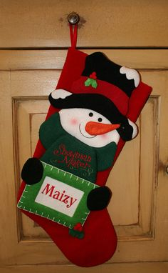 Adorable Personalized Christmas Stockings by TousledThread on Etsy Snowman Christmas Decorations, Felt Christmas Stockings, Felt Christmas Ornaments, Christmas Snowman, Christmas Crafts, Christmas Holidays, Cardboard Crafts, Homemade Christmas, Handmade