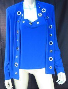 Joseph Ribkoff  Two Piece Royal Blue Silver Grommet Jacket & Camisole Top  * #JosephRibkoff #TwoPieceTop