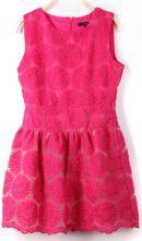 Rose Red Sleeveless Sunflower Embroidery Bilayer Dress $34.68  #SheInside