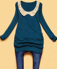 Blue Round Neck Long Sleeve Sequined Slim Sweater #sheinside