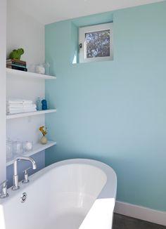 Bathroom Design, Cool Farmhouse Bathroom With Light Blue Bathroom Color Ideas Also White Modern Bathtub And Faucet Also White Wooden Shelves. Modern Bathroom, Small Bathroom, Modern Bathtub, Bad Wand, Bathroom Chair, Flur Design, Bathroom Paint Colors, Aqua Paint, Passive House