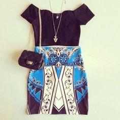 pattern skirt & crop top