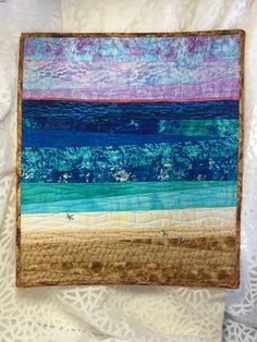 Excited to share this item from my shop: Sunrise On The Beach, Wall Quilt, Beach, Landscape, Fiber Art Ocean Quilt, Beach Quilt, Hand Painted Fabric, Fabric Art, Beach Themed Quilts, Beach Style Quilts, Landscape Art Quilts, Landscapes, Watercolor Quilt
