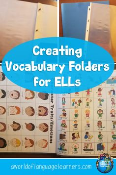 Learn how to make vocabulary folders. With a few simple materials you can quickly set up your own. These are great for ELLs. Vocabulary Builder, Teaching Vocabulary, Vocabulary Activities, Teaching Resources, Spanish Activities, Preschool Worksheets, Teaching Ideas, Esl Learning, Listening Activities