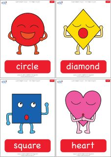 "Simple shapes flashcards for the Super Simple Learning song ""The Shapes Song #1."" #preK #Kindergarten #ESL"