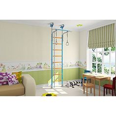 Kids Wood Playground Play Set for Floor & Ceiling / Wooden Indoor Training Gym Sport Set with Accessories Equipment: Climber, Gymnastic Swing Rings, Climbing Rope, Rope Ladder / Suit for Apartment, School, Kids room and Playroom / Wallbarz Woodsy