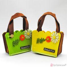 Τσόχινο τσαντάκι beautiful με λουλούδια Reusable Tote Bags, Felt, Beautiful, Felting, Feltro