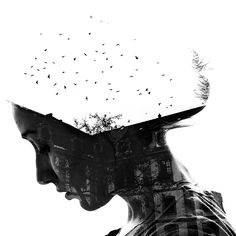 Double exposure portraits shot in Germany