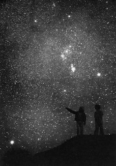 "''Look at the stars.''Jane said in a whisper.Dan leaned his head back slightly. ''Yeah?So what?"" Jane scowled silently.Then she pointed insistingly. ''No,look.Look at all of them!Look how small we are compared to so many.''She said in her own amazement. Dan smiled to himself. ''Yeah,I guess we are pretty small huh?"""
