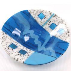 Glacial River Kilnformed Glass Bowl