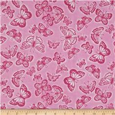 Flannel Tossed Butterflies Pink