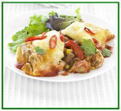 Chicken enchiladas   http://www.ibssanoplus.com/low_fodmap_chicken_enchiladas.html