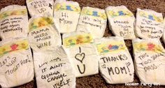 HPG Diaper Notes - have baby shower guests write funny or supportive notes on diapers to make late night changes just a little bit better.
