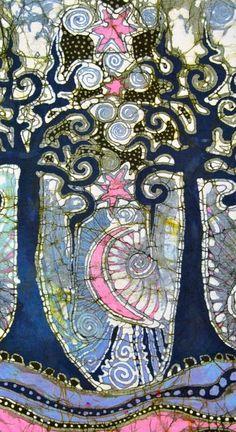 Alive at Night - an Urban Affair - 11x17 Batik Art Print danielle-s-favorites