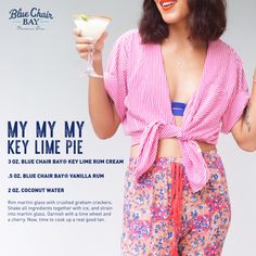 My My My let's have a cocktail for dessert! This easy, three ingredient drink recipe is a great alternative for key lime pie. Rim martini glass with crushed graham crackers. Shake all ingredients together with ice, and strain into martini glass. Garnish with a lime wheel and a cherry. Now, time to cook up a real good tan. #bluechairbay #keylimerumcream #BCBHappyHour Key Lime Rum Cream, Key Lime Pie, Graham Cracker Crust, Graham Crackers, Vanilla Rum, Cocktail Recipes, Martini, Shake, Cherry