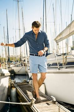 Preppy style for summer and boating. Good blue combo for the shorts and shirt