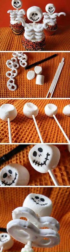 Skeleton cupcake toppers. Marshmallows, food coloring pen, white kabob stick, white chocolate covered pretzels