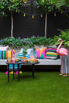 littleBIGBELL Bright colourful interiors Arcade Spring Summer 18 homewares by Amara Backyard Furniture, Best Outdoor Furniture, Balcony Design, Garden Design, Terrace Decor, Deco Restaurant, Backyard Patio Designs, Outdoor Living, Outdoor Decor