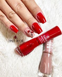 Nail Artist, E Design, Nails Inspiration, Curly Hair Styles, Nail Polishes, Manicures, Hair Beauty, Make Up, Red Toenails
