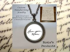 Handwriting Necklace Custom HANDWRITING or by RosiesPendants