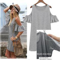 Crochet ideas that you'll love Diy Sweatshirt, T Shirt Diy, Umgestaltete Shirts, Poncho Tops, Baby Hats Knitting, Shirt Refashion, Diy Fashion, Fashion Trends, Shoulder Shirts