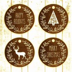 Rustic Christmas labels free printable labels. Free printable gift tags.
