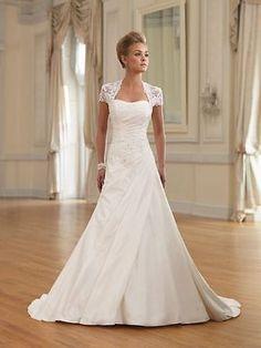 Neu Elfenbein Applikationen Brautkleider A-Linie Taft Hochzeitskleid
