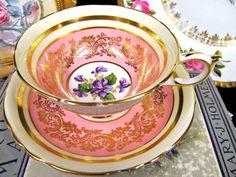 Paragon tea cup and saucer PINK & VIOLETS teacup pattern wide mouth gold gilt   Antiques, Decorative Arts, Ceramics & Porcelain   eBay!