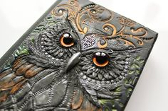 Polymer clay journal -Owl With Golden Eyes- wooden journal effect - secret diary- sketchbook- fantasy steampunk gothic