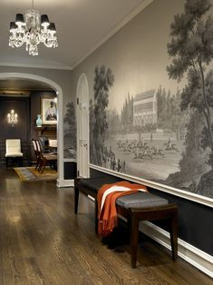 Grisaille Mural- Design by Morgante-Wilson Architects. Chinoiserie Wallpaper, Of Wallpaper, Beautiful Wallpaper, Chicago Wallpaper, Zuber Wallpaper, Graphic Wallpaper, Modern Wallpaper, Original Wallpaper, Decoration Hall