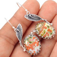 Ocean-Jasper-925-Sterling-Silver-Earrings-Jewelry-SE108461