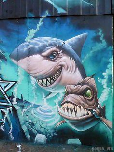 "grafflicks: "" GRAFFITI by PEQUE VRS "" Wow Best Street Art, Amazing Street Art, 3d Street Art, Street Artists, Graffiti Artwork, Graffiti Drawing, Mural Art, Graffiti Artists, Murals Street Art"