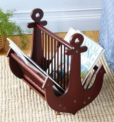 Nautical Home Decor Wooden Ship Anchor Shape Magazine / Newspaper Holder Rack