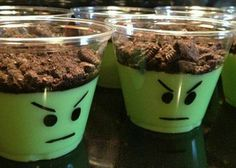 Avengers Party Pudding cups for a incredible hulk themed birthday party! Green food coloring & crushed Oreos on top. I never thought of it being the Hulk! Hulk Birthday Parties, Superhero Birthday Party, Halloween Birthday, 4th Birthday, Hulk Birthday Cakes, Diy Lego Birthday Party Ideas, School Birthday, Avenger Party, Ninjago Party