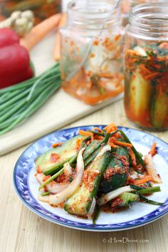 make Easy Cucumber Kimchi (Oi Kimchi) | {It's so crunchy and delicious.  It's also rich in probiotics and contains no sugar!}