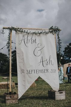 Abbi From Save The Date Magazine Gets Married Wearing Margaux Taridts & Grace Loves Lace Outdoor Festival Wedding With Tipis, Bell Tent Camping & Festoon Lights Wedding Flags, Tipi Wedding, Camp Wedding, Wedding Signage, Wedding Day, Camping Wedding Theme, Outdoor Wedding Signs, Wedding Venues, Outdoor Weddings