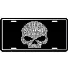 harley davidson skull stamped metal license tag