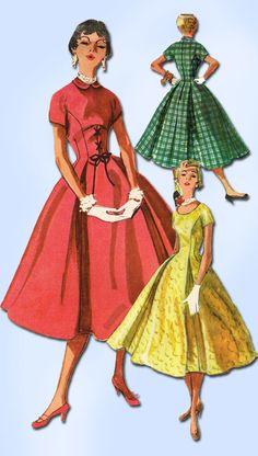 1950s Misses Simplicity Sewing Pattern 4887 Uncut Misses Rockabilly Dress Sz 12
