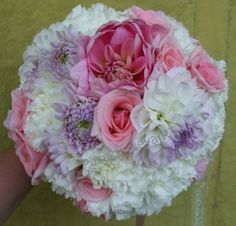 White and pink Lithuanian dahlia and pink roses