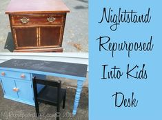 How to make a kids desk out of an unwanted nightstand