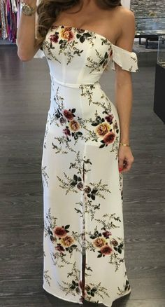 Women White Floral Print Strapless Maxi Dress Summer Short Sleeve Off Shoulder Split Bodycon Boho Dresses Moda Mujer Vestidos Maxi Dress With Slit, Floral Maxi Dress, The Dress, Dress Skirt, White Floral Dress, Dress Black, Bodycon Dress, Cute Dresses, Beautiful Dresses