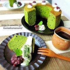 No Bake Desserts, Dessert Recipes, Types Of Cakes, Chiffon Cake, Japanese Food, Japanese Matcha, Cute Food, Chocolate Desserts, Bakery