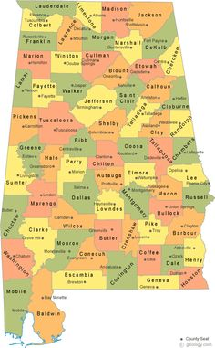 A map of Alabama Counties with County seats and a satellite image of Alabama with County outlines. Alabama College Football, American Football, Fort Payne, County Map, Sweet Home Alabama, State Map, Alabama Crimson Tide, Good To Know, Louisiana